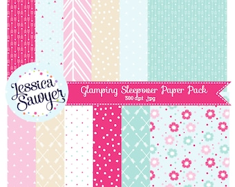 glamping sleepover digital papers or pink and aqua backgrounds for crafts and products