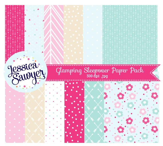 Glamping Sleepover Digital Papers Or Pink And Aqua