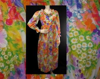 Vintage 70s Peignoir / Negligee Nightie / Floral Delight / S / Rainbow of Color