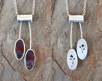 Moroccan Agate Necklace in Fine Silver. Handmade Jewelry For Charity. NC28