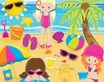 80% OFF SALE Beach party girls clipart commercial use, beach kids vector graphics, vacation kids digital clip art, digital images  - CL849