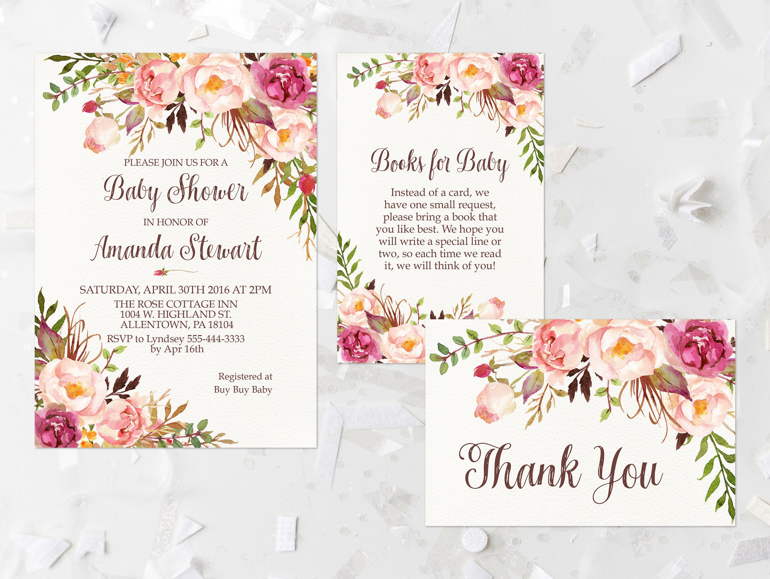 Bohemian Floral Baby Shower Invitation Printable Rustic Baby