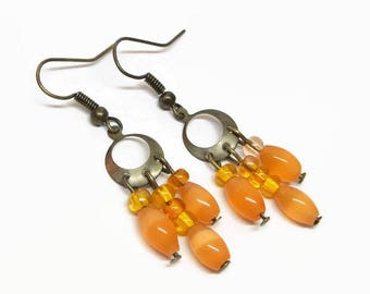 Orange Boho Chandelier Earrings, Petite Chandelier Earrings, Antique Gold Chandelier Earrings, Orange Bohemian Dangle Earrings