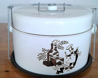 Vintage Mid Century Retro White Metal Cake And Pie Carrier With Decal On The Front FREE SHIPPING