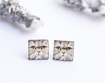 Kitty studs , cat earrings , kitty earrings , cat lover gift , kitten studs , cat gift idea , kitty jewelry , cat jewelry , kitty lover gift