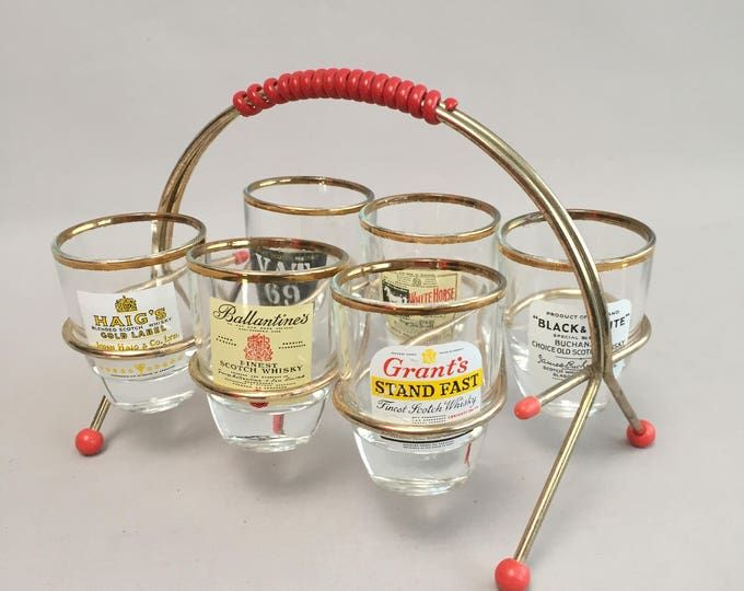 1950s drinks set whisky glasses in atomic glass holder