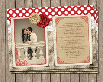 Rustic Wedding Invitation, red, Polka dot, burlap, lace, Digital file, Printable