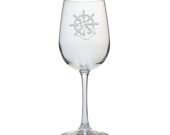 Anchor and Wheel Wine Glass  / Free Personalization / Personalized Gift /  16 oz Nautical Wine Glass / Personalized Glass