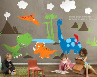 Dinosaurs Wall Decal ,triceratops, Apatosaurus,T-rex , pterodactyl, chemeleon, Children Wall Decal Wall Sticker