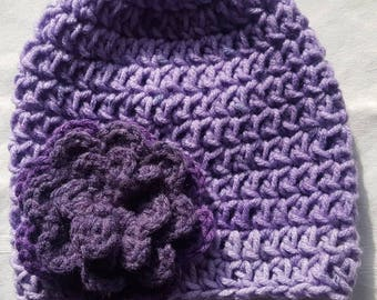 Baby Girl Shades of Purple Hat and Diaper Cover Set