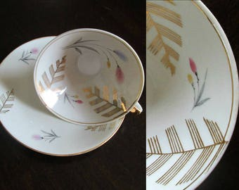 Mid Century Modern China Teacup Saucer Gold Leaves & Trim Pink Blue Flowers