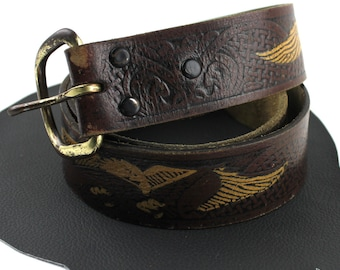 Dark Brown & Blonde Leather Eagle Tooled Painted Belt Size 27 to 31 inches