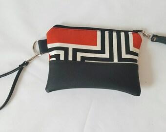 Red Black White Wristlet, Wristlet Wallet, Womens Wallet, Faux Leather, Small Crossbody, Phone Wallet, Wristlet Purse, Geometric Print, Gift