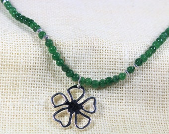Emerald necklace, beaded necklace, flower necklace, Sterling silver necklace, month of May stone, gift for her, gift for mom
