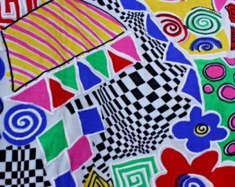 """White Background w/ Painted Multi-Abstract Design 4 Way 52"""" Wide By the Yard - Free Shipping"""
