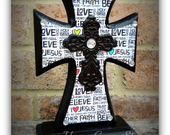 Cross - Wood Cross - MINI-Standing - Black with Religious/Jesus theme