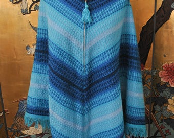 1960s Ombre Blue Knit Poncho