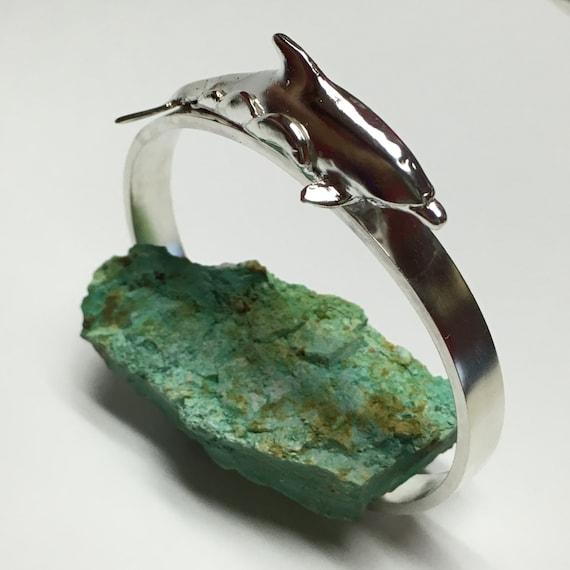 Swimming dolphin cuff bracelet made of sterling silver.  Dolphin jewelry silver dolphin Salt life Ocean jewelry Gift wedding bridal birthday