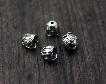 2pcs of 8MM Sterling Silver bead caps, Tulip bead cap, Sterling Silver flower bead caps,silver bead cap,flower caps,for TOP DRILLED Beads