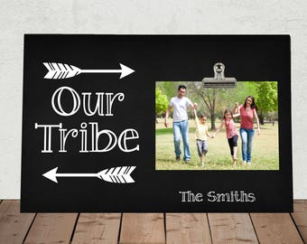 OUR TRIBE, Personalized Photo Clip Frame, Handmade in the USA, Family photo frame, Perfect for Mothers Day, Fathers Day, Anniversary