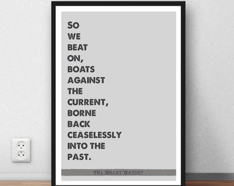 The Great Gatsby quote film - book - last words - movie quote - poster print - digital download
