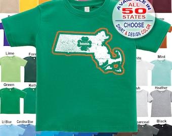 Massachusetts Home State Irish Shamrock T-Shirt - Boys / Girls / Infant / Toddler / Youth sizes