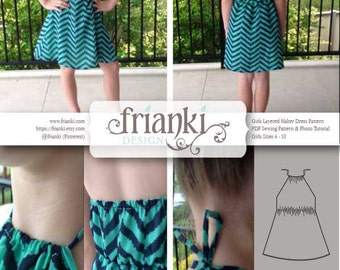 Girls Layered Halter Dress - PDF Sewing Pattern and Photo Tutorial - Sizes 4 to 10 - Instant Download - Kids Toddler Child Easy Sew Pattern