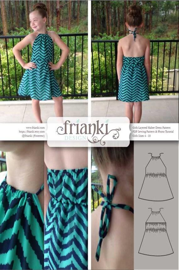Girls Layered Halter Dress PDF Sewing Pattern and Photo
