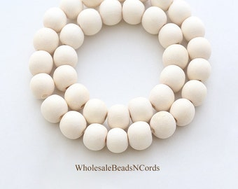 Bulk Lot 8mm IVORY Wood Beads - Round - Color Ranges from Light White to Off White - 500 Beads - Natural - Fast Ship Usa 0548CBulk