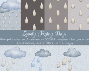 Clouds and Raindrops, Digital watercolor clipart, raindrop backgrounds, digital clip art, hand painted clipart, rain clipart, kids, weather