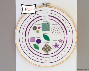 Embroidery Stitch Sampler • PDF Download • Embroidery Sampler Pattern Digital Download