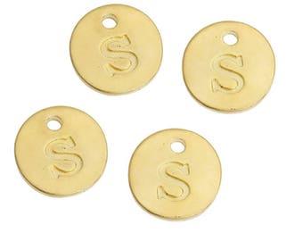 Letter S - 12mm Golden gold pendant