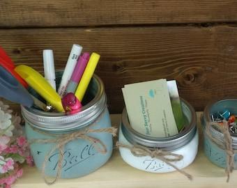 3pc office mason jars set