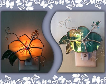 Hibiscus, Stained Glass Night Light or Sun Catcher, Custom Made, Hand Made Flower