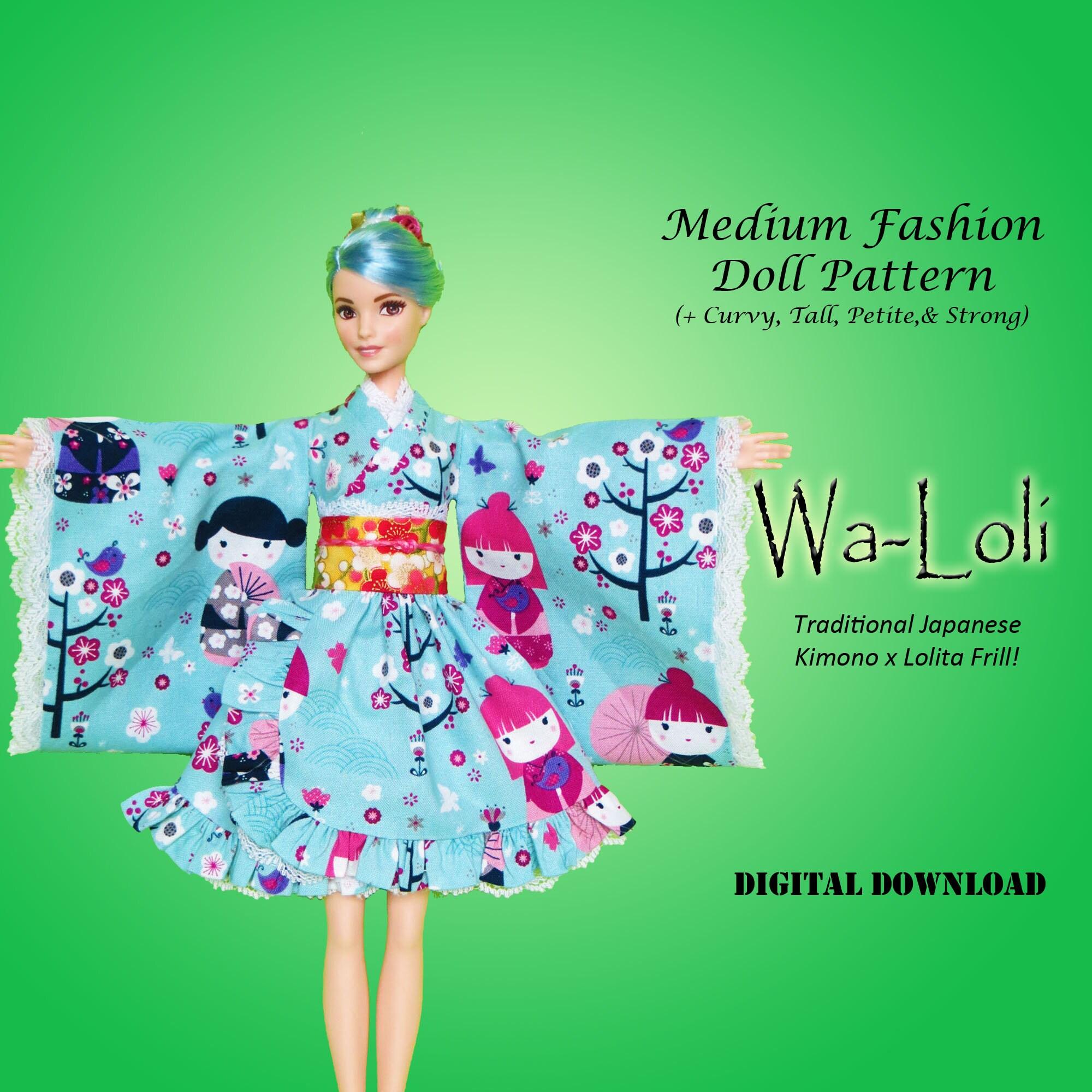 Wa Loli kimono lolita Doll Clothes PDF Sewing pattern for
