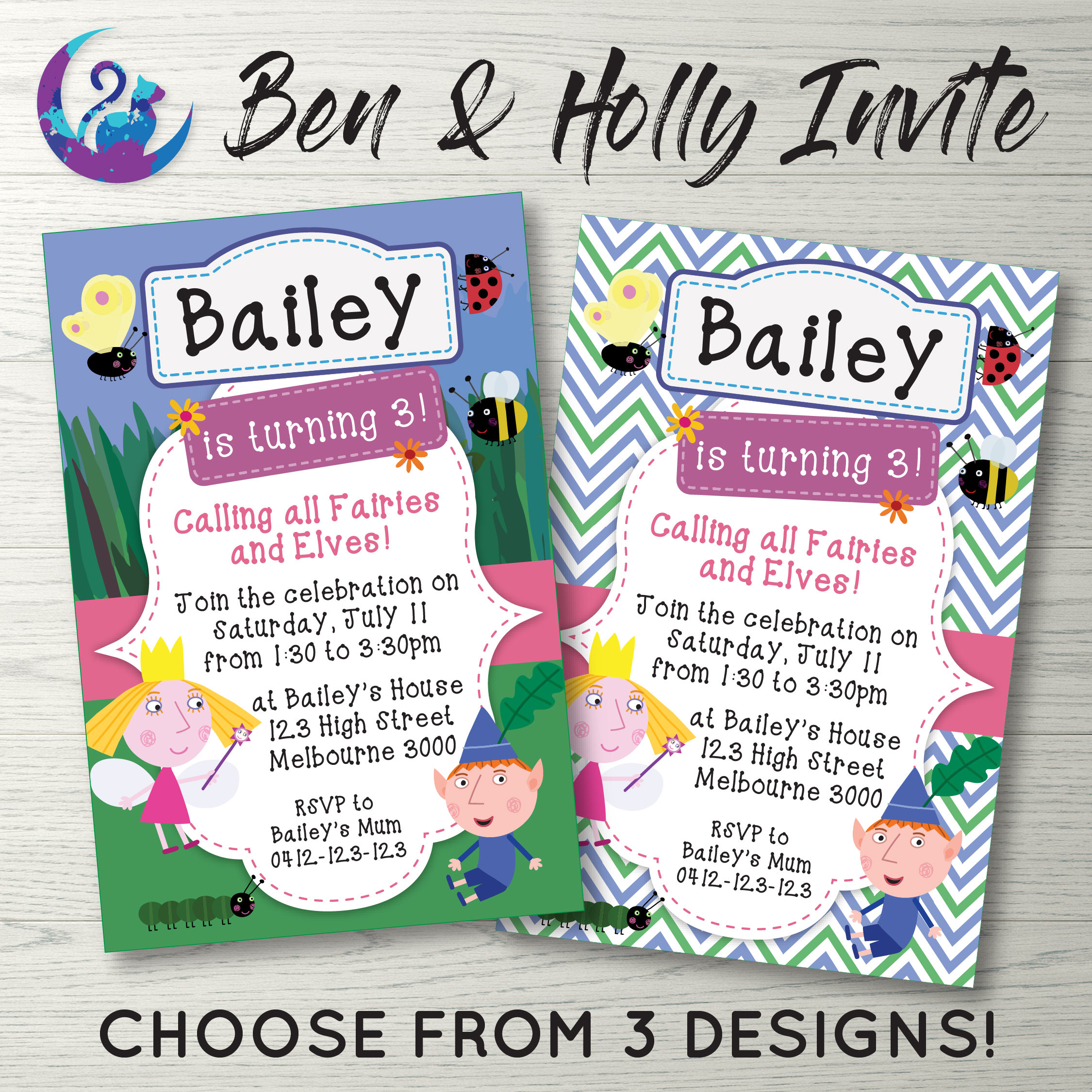 Ben and Holly Little Kingdom Invitation Ben and Holly Invite