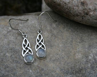 Beautiful Celtic Earrings With Twisted Sterling Silver and Moonstone
