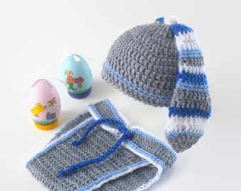 Newborn Bunny Hat and Diaper Cover Photo Prop Infant Boy Bunny Set Baby Bunny Prop Easter Photo Prop Grey and Blue Easter Rabbit Set Baby