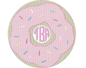 Donut Monogram Embroidery Design Machine Instant download Doughnut BX 4x4 5x7 6x10 BX PES