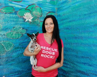 SALE - Dog t-shirt - Rescue Dogs Rock for women in Pink - supports animal rescue