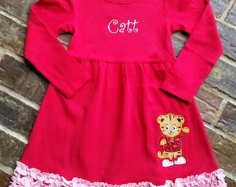 Girl's ruffled Daniel Tiger appliquéd dress with embroidered name or monogram