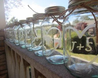24 Etched Mason Jars -  Wedding Mason Jar Center Pieces