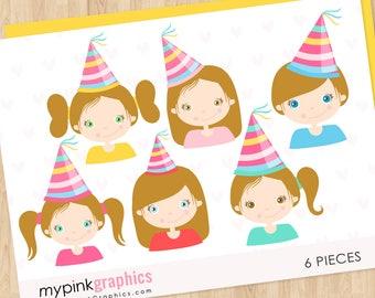 Brunette Girl Clip Art - Birthday Clip Art, Anniversary Clipart, Birthday Clipart, Girl Face, Party, Cute Girl Clipart, Vector - MPG96