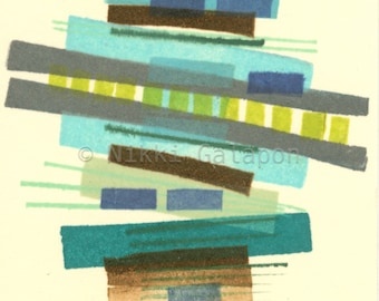 Stack #7: Original Monotype ACEO, Artist Trading Card, ATC, abstract modern art, green blue turquoise jade brown beige