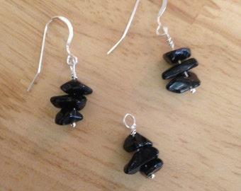 Black Obsidian Earring and Pendant Set, Obsidian Chip Earrings, Obsidian chip pendant,, Ready to ship