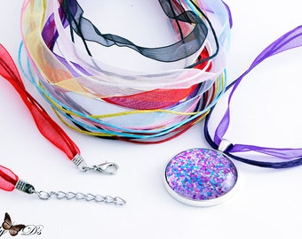 Organza Ribbon Cord Necklaces - 32 Pack -  Pick 1 Color or Mix-N-Match 8 Vibrant Colors - Organza Pendant Necklace