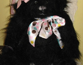 Handcrafted Black Faux Fur Teddy Bear 18 Inches Tall and Pudgy