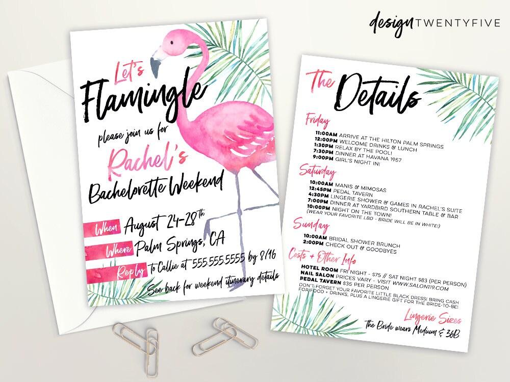 Lets Flamingle Party Bachelorette Invite Flamingle Bridal