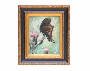 ORIGINAL OIL PAINTING 8x10 framed Swallowtail Butterfly Nature art