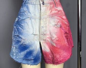 reworked red white and blue cut off dyed and distressed denim jean shorts small WB03601